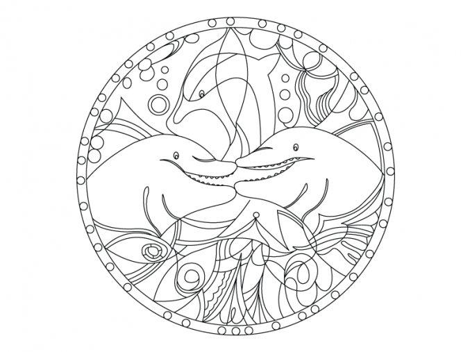 Mandala s delfíny 2