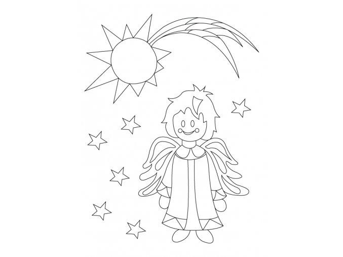 Šablona Vánoční motiv s andílkem