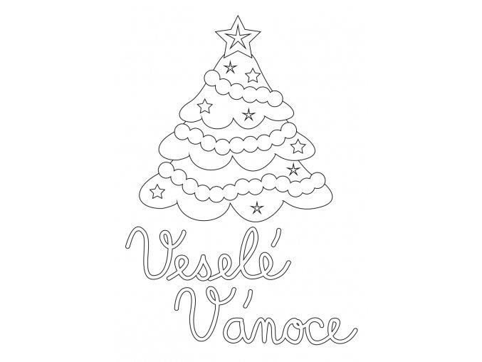 Šablona Vánoční motiv se stromečkem