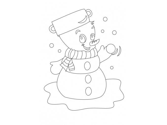 Vánoční motiv se sněhulákem