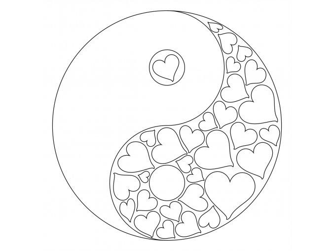 Šablona Mandala Jin - jang se srdíčky