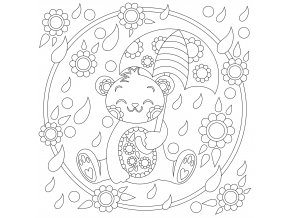 Šablona Medvídek s deštníkem