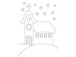 Šablona Vánoční motiv s kostelem