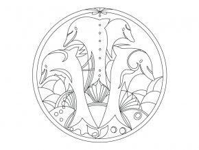 Šablona Mandala s delfíny
