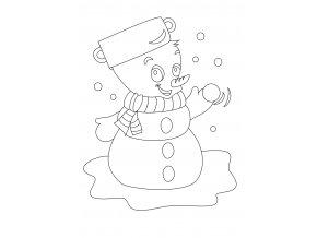 Šablona Vánoční motiv se sněhulákem