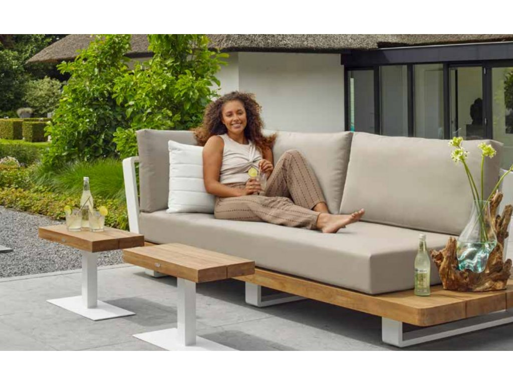 fitz roy side table white with robust teak