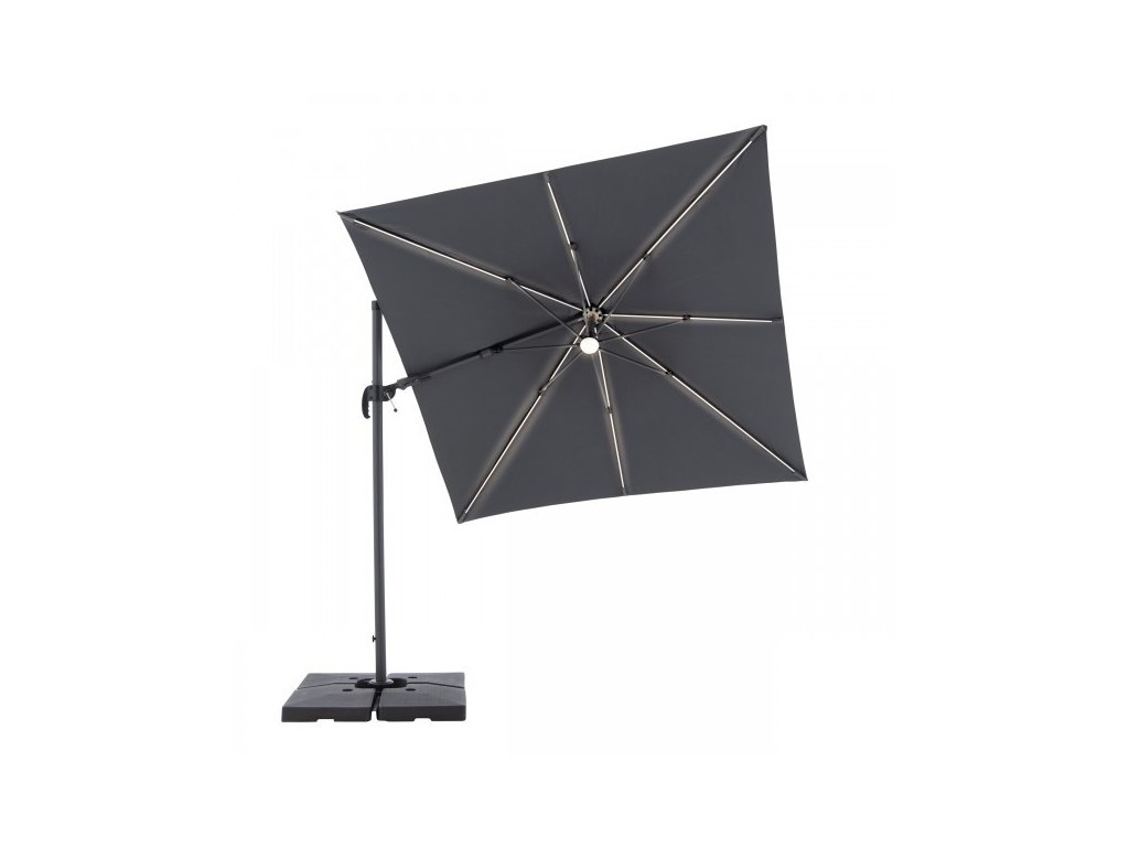 RAVENNA 2,5 x 2,5 m – naklápací slnečník s bočnou tyčou a LED svetlom