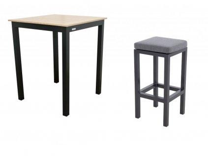 EXPERT WOOD antracit - barový stolík a kreslá 4+1