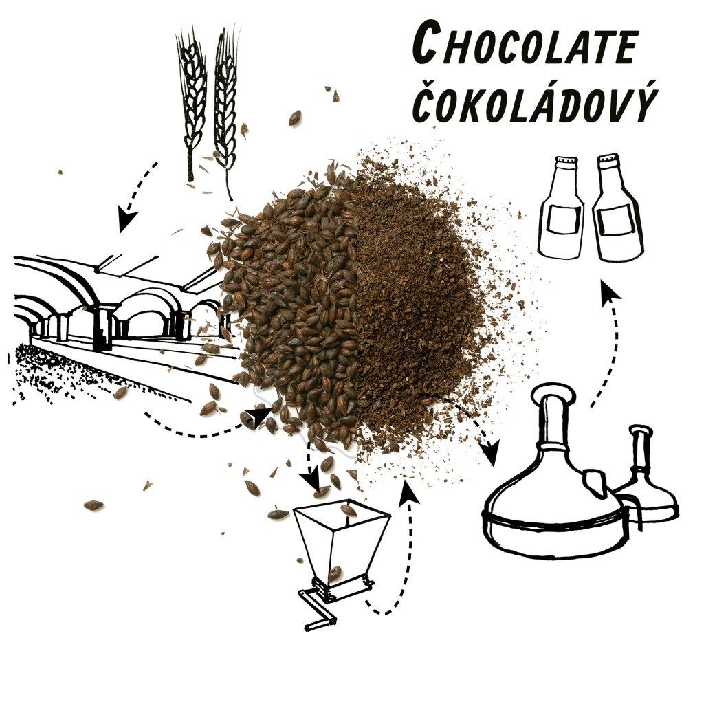 šrotovaný slad chololate