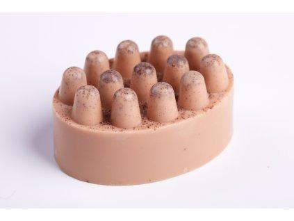 PEELINGOVÉ MÝDLO - KÁVA A SKOŘICE s bambuckým,kakaovým a mangovým máslem a peelingem ze zrníček kávy
