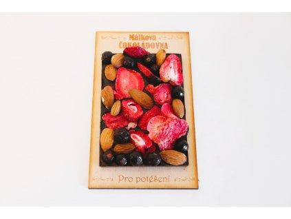 Tmavá 72% čokoláda se směsí ovoce a ořechů - malá