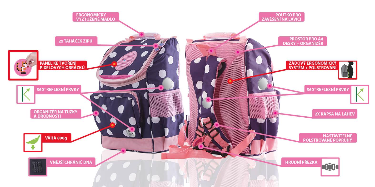 Benefity školního batohu pro dívky od PIXIE CREW