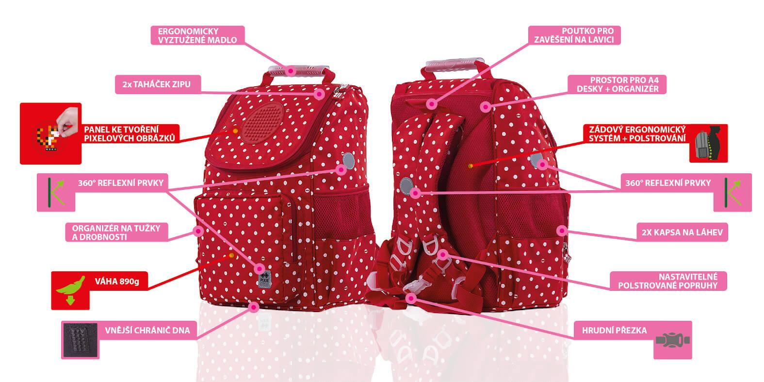 Výhody dívčí školní aktovky červené s bílými puntíky od PIXIE CREW