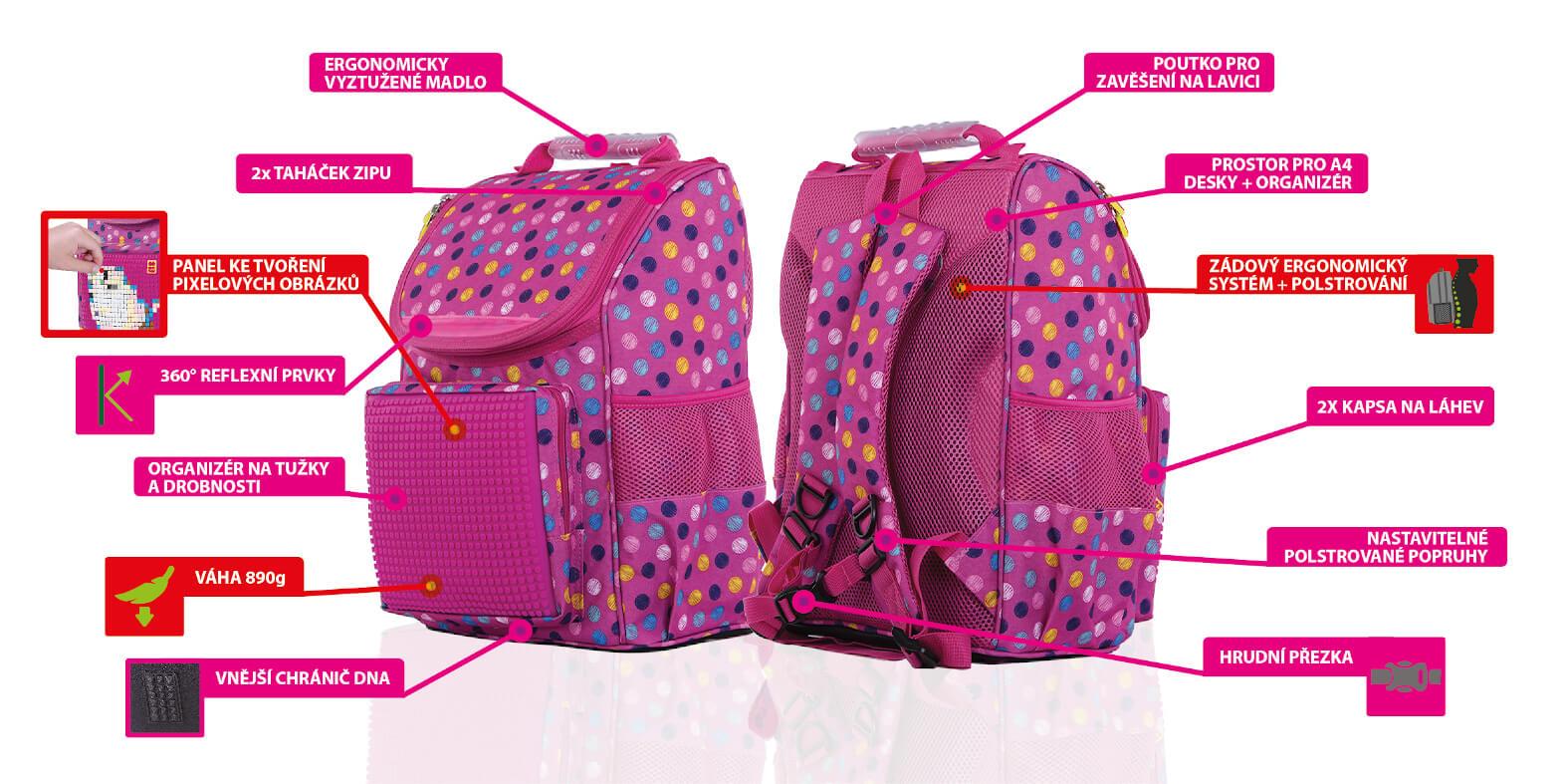 Výhody kreativní růžové dívčí školní aktovky s puntíky od PIXIE CREW