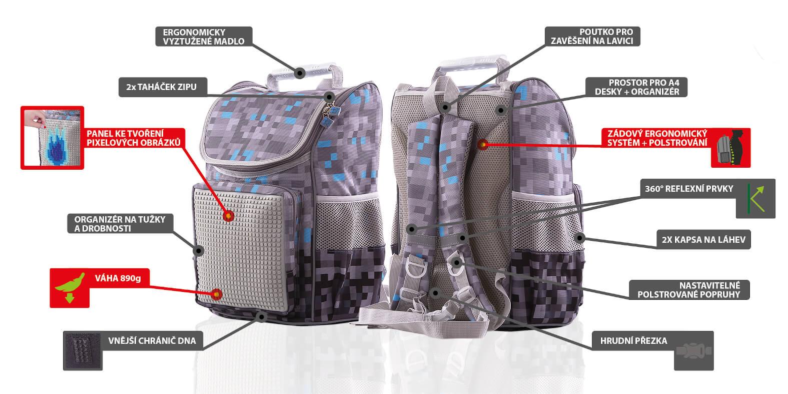 Výhody školního batohu Minecraft od PIXIE CREW