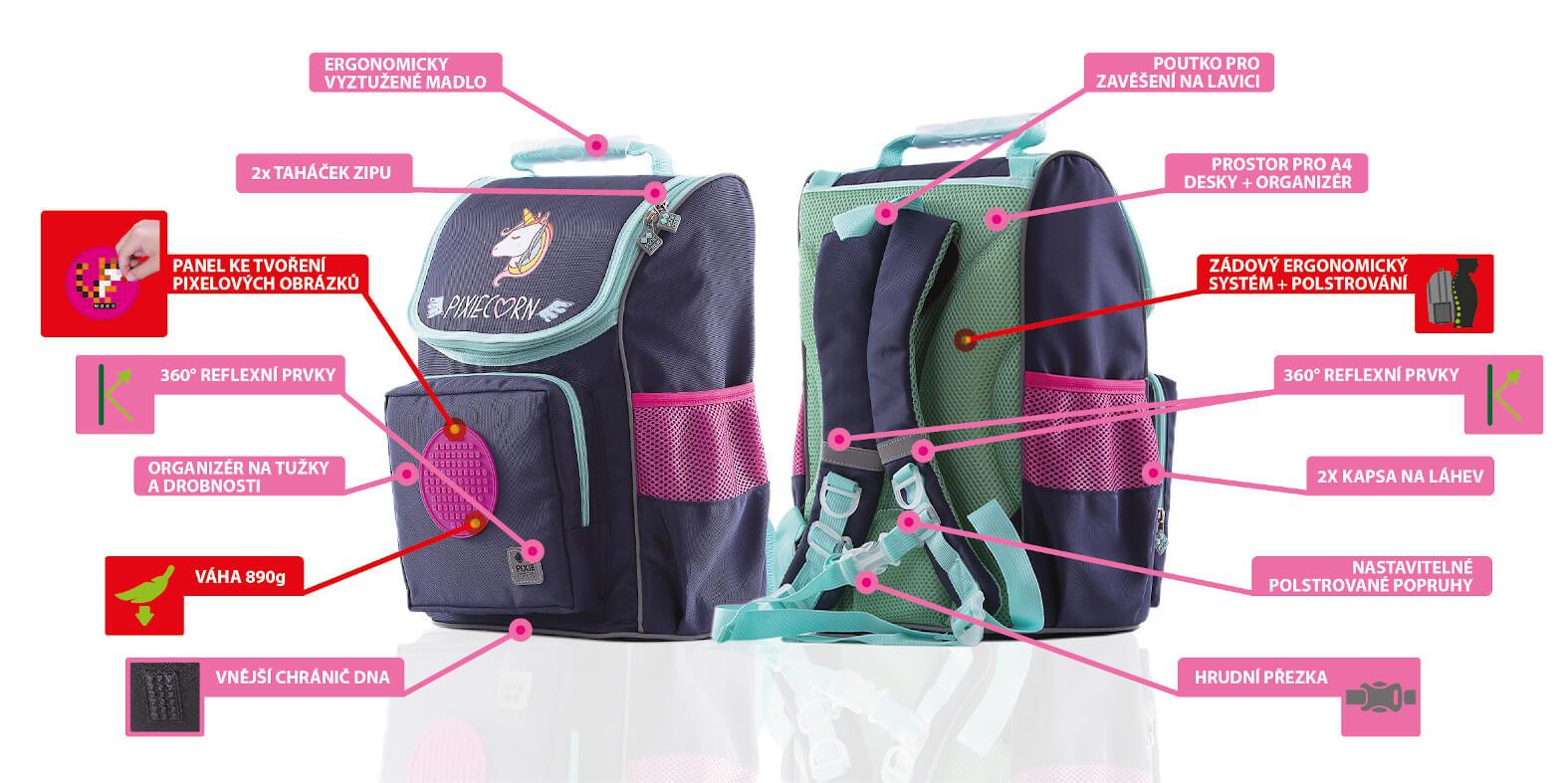 Výhody a benefity školního batohu Unicorn od PIXIE CREW