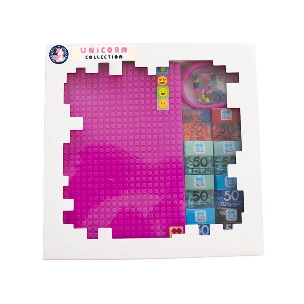 Dárková kreativní sada Unicorn růžová - poznámkový blok + náramek  (pixely a dárkové balení ZDARMA)