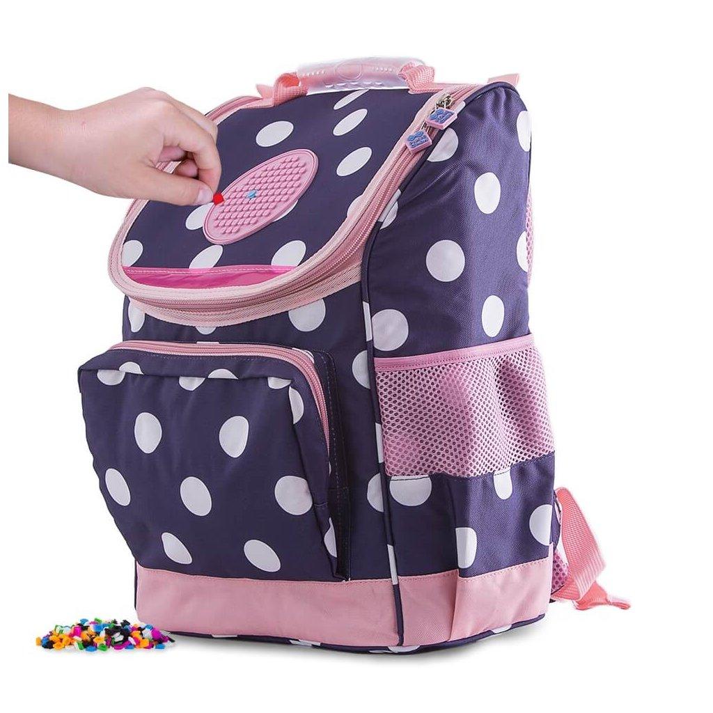 PIXIE CREW školní aktovka MODRÁ S BÍLÝM PUNTÍKEM , dětský batoh pro první stupeň