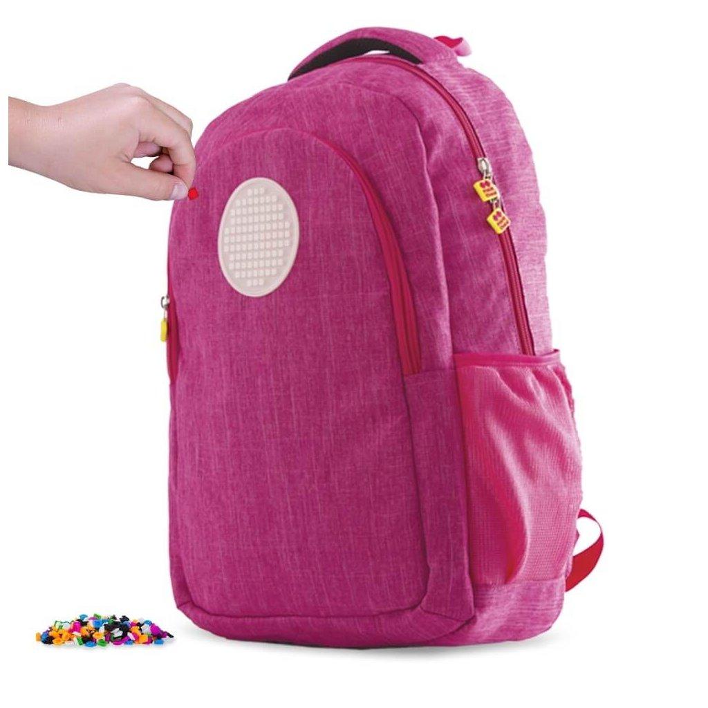 PIXIE CREW studentský batoh RŮŽOVÝ s kulatým panelem