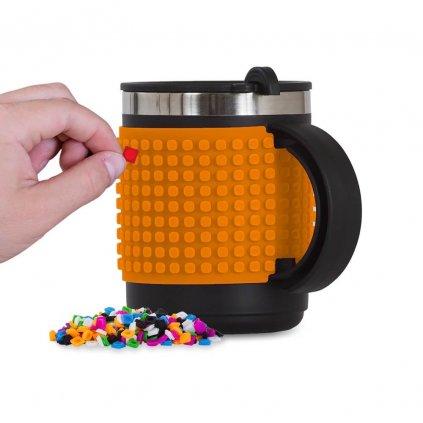PIXIE CREW Pixelový termo hrnek oranžový