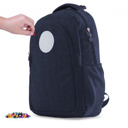 PIXIE CREW studentský batoh MODRÝ s kulatým panelem