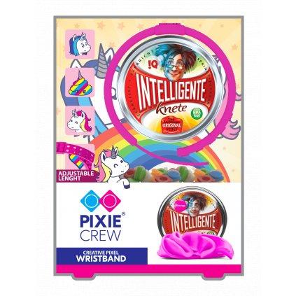Dětský silikonový náramek růžové barvy s pixely a inteligentní plastelína jako dárek