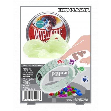 PIXIE CREW Silikonový náramek svítící ve tmě s pixelart příšerkami + Inteligentní plastelína jako dárek