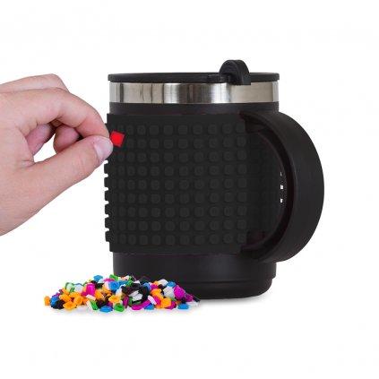 Černý kreativní termohrnek na kávu