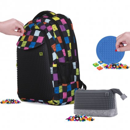 Zvýhodněná sada školního batohu, univerzální kapsy ala penál a silikonového panelu