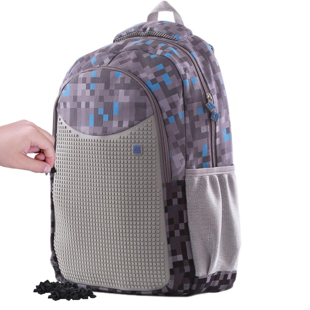 PIXIE CREW Kreativní studentský batoh Minecraft šedo-modrý