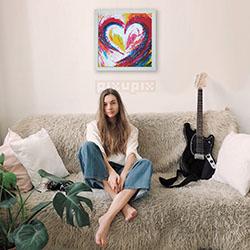 dřevěný pixel art srdce 64x64