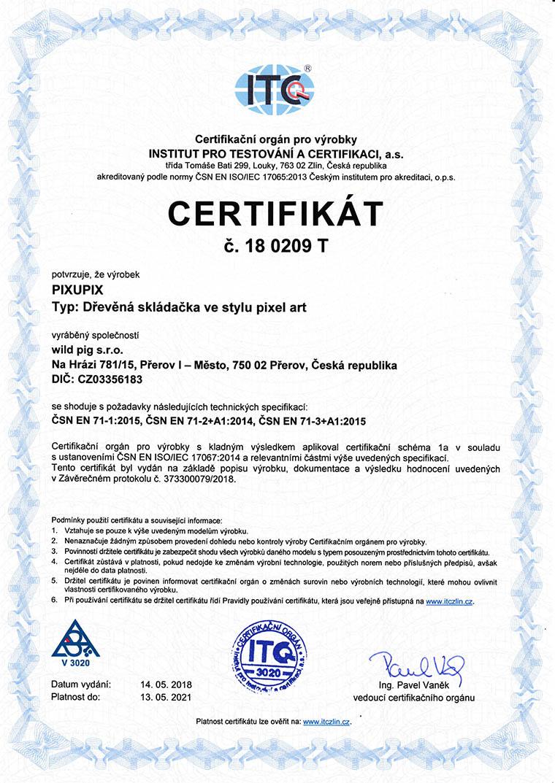 Certifikát ITC PIXUPIX