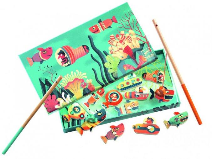 Djeco Drevená magnetická hra Žraloky