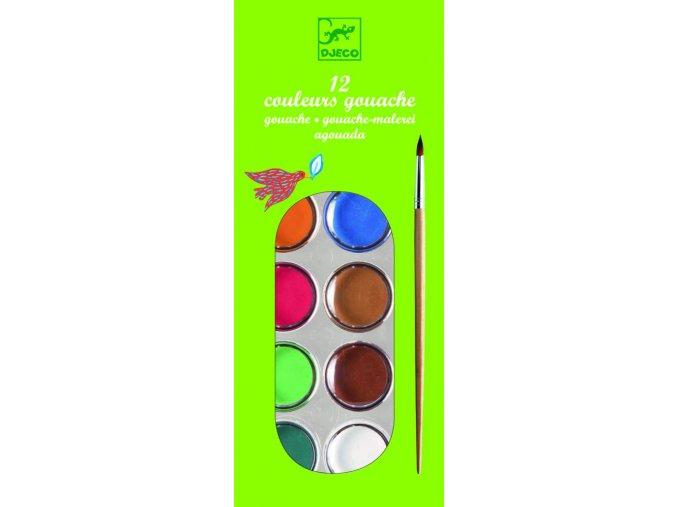 Djeco Sada vodových farieb - základné farby (12 ks)
