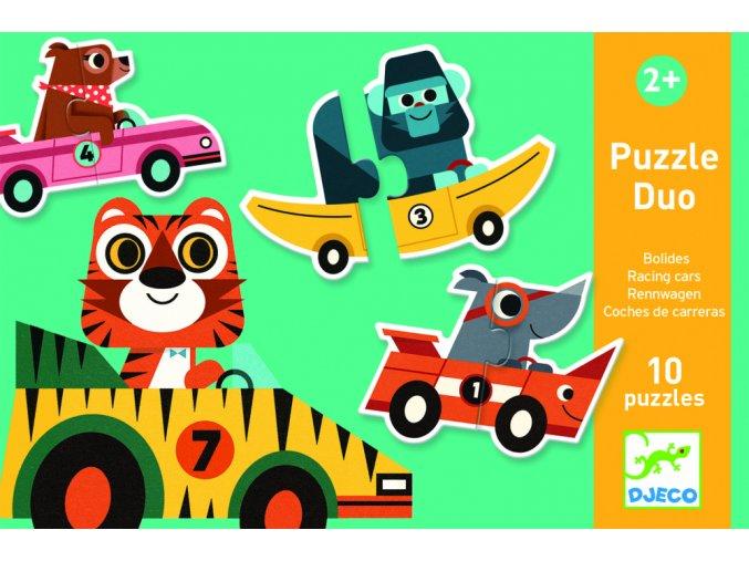 Djeco Puzzle duo-trio - Pretekárske autá
