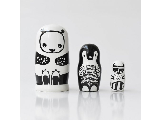 handmade nesting dolls natural heirloom gifts kids black and white 900x