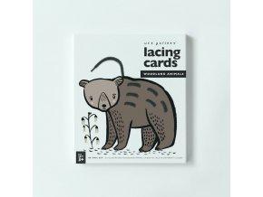 Wee Gallery Lacing Cards - Woodland Animals - prevliekacie kartičky