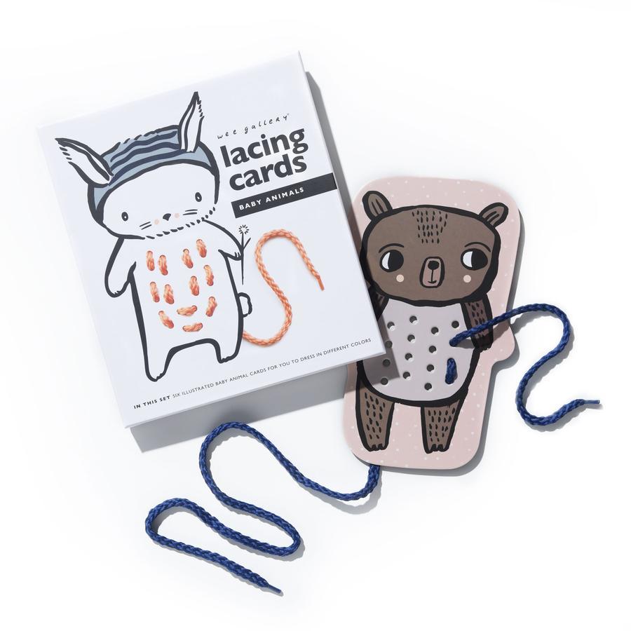 Wee Gallery Lacing Cards - Baby Animals Prevliekacie a šnurovacie kartičky