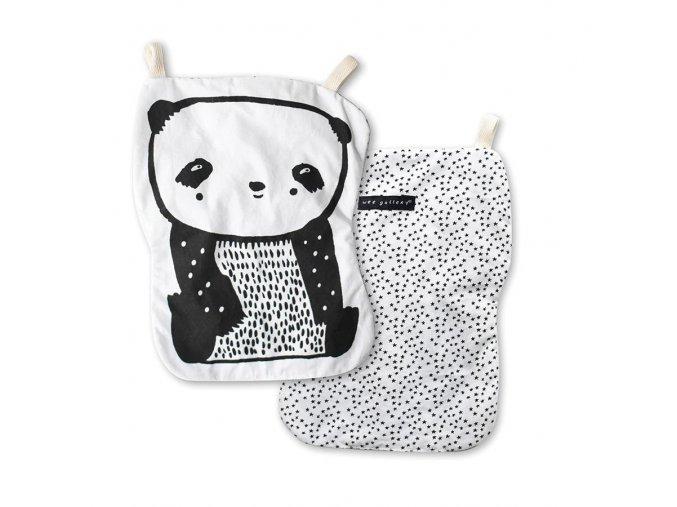 Šustivá panda pro miminka z organické bavlny