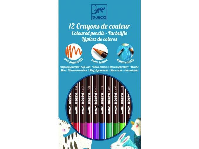 Djeco Akvarelové pastelky - základní barvy (12 ks)