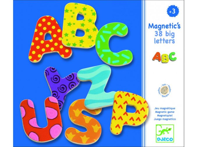 Djeco Drevené magnetky Veľké písmená 38 ks