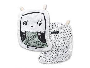 Šustivá sova pro miminka z organické bavlny