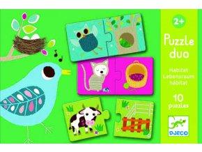 Djeco Puzzle Duo - Kde zvířátka bydlí