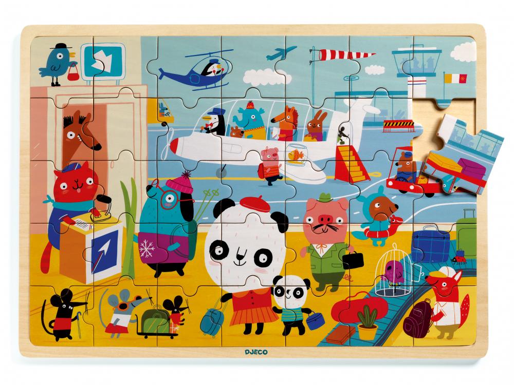 Djeco Dřevěné puzzle - Letiště