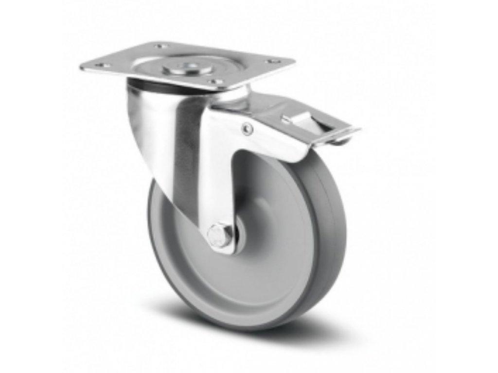 Pojezdové kolečko PJR 100, otočné s brzdou, plotna