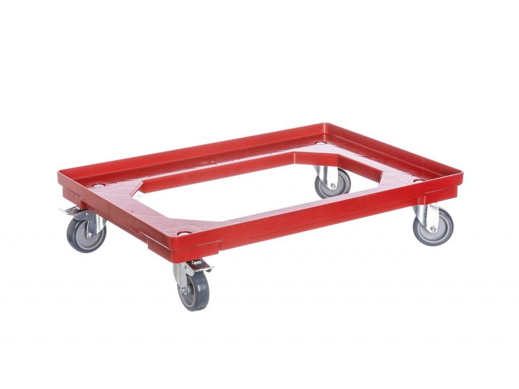 Vozík pod přepravky 2 otočná + 2 kolečka s brzdou 75 mm polyuretan
