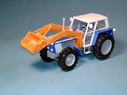 ZETOR Crystal 12045 s čelním nakladačem - stavebnice 1:43 - modrý