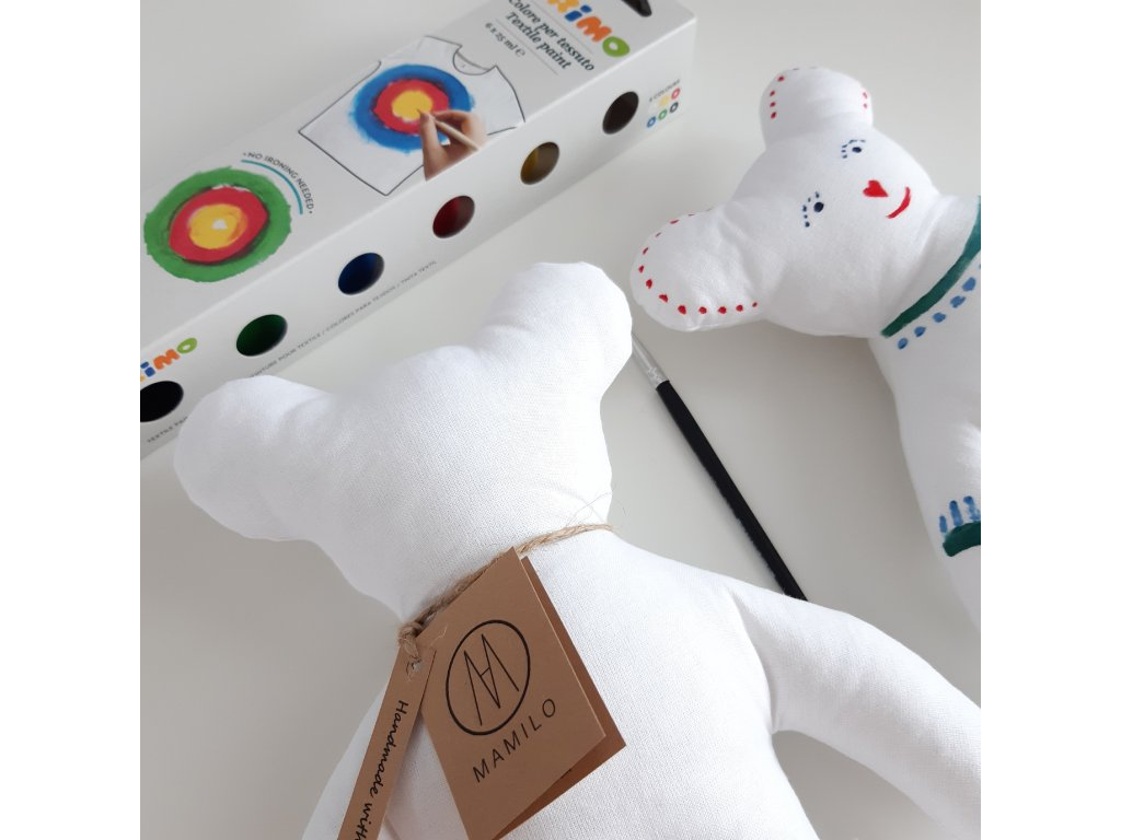 Kreativní medvídek  + barvy na textil