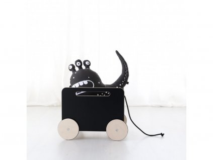4959 1 dreveny vozik na hracky cerny ooh noo