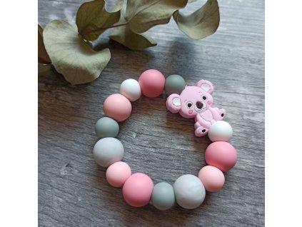 Kousátko do ručičky - Koala růžovo-šedá